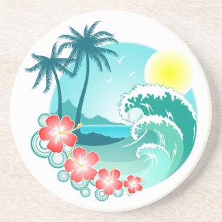 Île hawaïenne 3 dessous de verre en grès