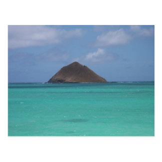 Île hawaïenne minuscule carte postale