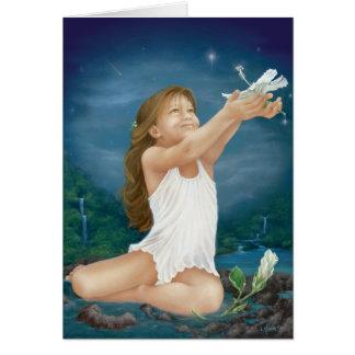 """""""Île souhaitant"""" la peinture à l'huile par Lori Carte De Vœux"""