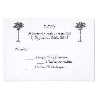 Île tropicale de palmier formel épousant RSVP Carton D'invitation 8,89 Cm X 12,70 Cm