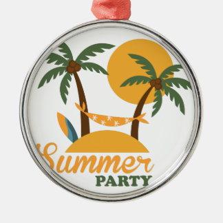 Île tropicale de vacances de vacances d'été avec ornement rond argenté