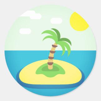 Île tropicale Emoji Sticker Rond
