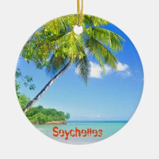 Île tropicale en Seychelles Ornement Rond En Céramique