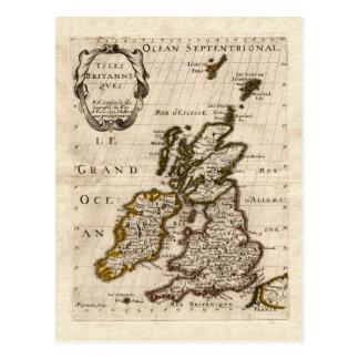 Îles Britanniques - carte 1700 de Nicolas Fils Carte Postale