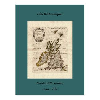 Îles Britanniques - carte 1700 de Nicolas Fils San Cartes Postales