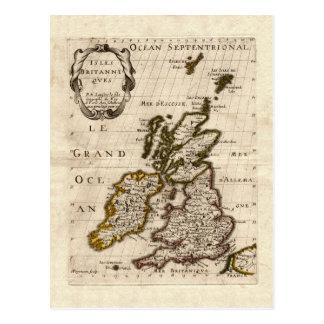 Îles Britanniques - carte 1700 de Nicolas Fils San Carte Postale