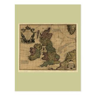 Îles Britanniques, de Les carte 1700's Carte Postale
