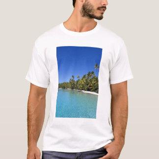 Îles Cook rayées par paume de plage 2 T-shirt