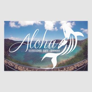 Îles d'Hawaï et baleine de baie de Hanauma Sticker Rectangulaire