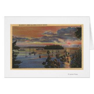 Îles du fleuve Columbia inférieur chez Sunsetand Carte De Vœux