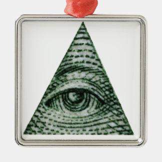 illuminati ornement carré argenté