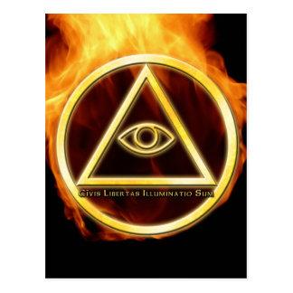 Illuminati sur le feu cartes postales