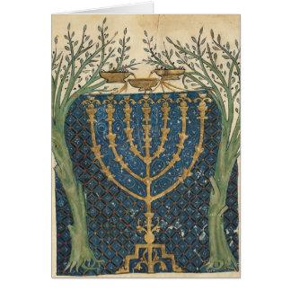 Illumination d'un menorah, de carte de vœux
