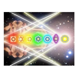 Illumination légère de chakra de méditation cartes postales