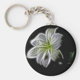 Illuminé comme le contour d'une fleur de lis blanc porte-clé rond