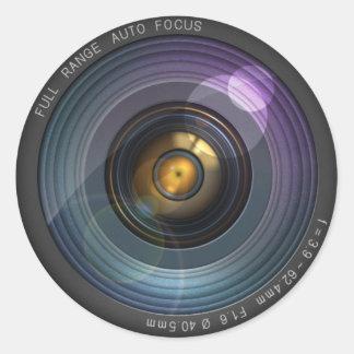 Illusion cachée par secret d'objectif de caméra sticker rond