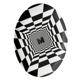 Illusion, monogramme ou initiale visuel noir et plateau de service en porcelaine