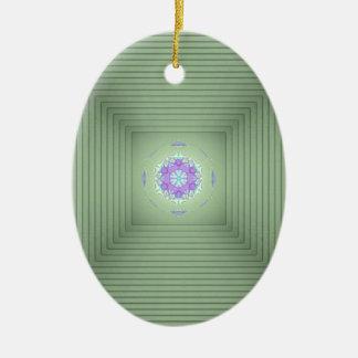 Illusion optique de la lavande 3D verte rare Ornement Ovale En Céramique