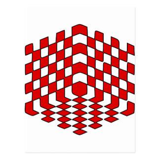 illusion optique du cube 3D rouge Carte Postale