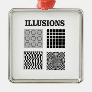 illusions de quadruple ornement carré argenté