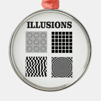 illusions de quadruple ornement rond argenté