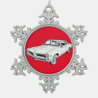 Illustration 1966 de voiture de muscle de Pontiac Ornement Flocon De Neige Pewter