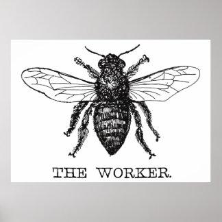Illustration à l'encre d'abeille de travailleur posters
