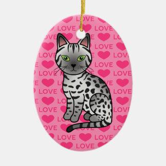 Illustration argentée de chat de Mau d'Egyptien Ornement Ovale En Céramique