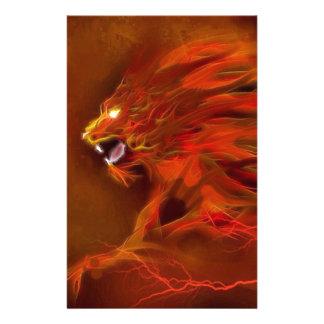 Illustration artistique de flammes de lion du feu papier à lettre customisé