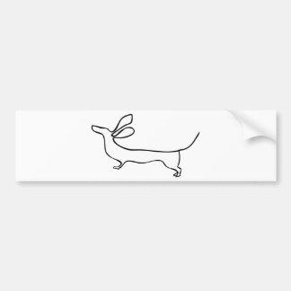 Illustration au trait teckel un d'oreilles de vol autocollant pour voiture