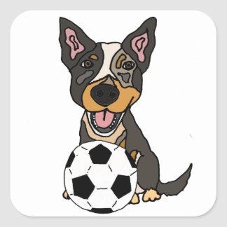 Illustration australienne du football de chien de sticker carré