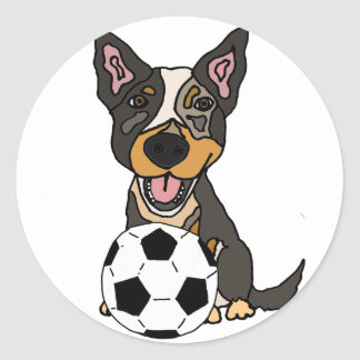 Illustration australienne du football de chien de sticker rond