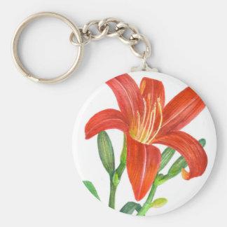Illustration botanique de lis orange porte-clé rond