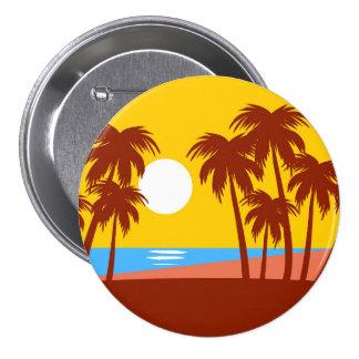 Illustration colorée de palmiers d'île de plage de badge