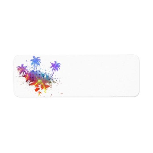 Illustration colorée de palmiers étiquette d'adresse retour