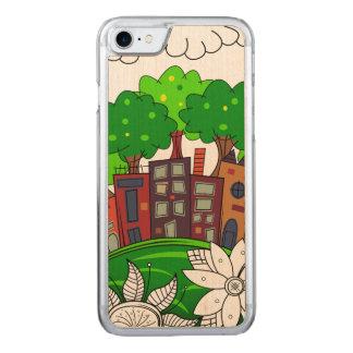 Illustration colorée de paysage urbain coque carved pour iPhone 7