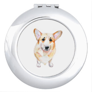 Illustration d'aquarelle de corgi miroirs compacts