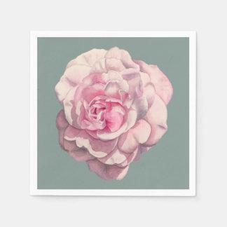 Illustration d'aquarelle de rose de rose serviettes en papier
