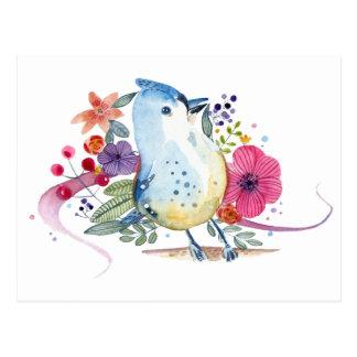 Illustration d'aquarelle d'oiseau de paradis carte postale