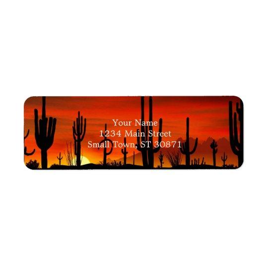 Illustration d'arbre de cactus quand le coucher du étiquettes d'adresse retour