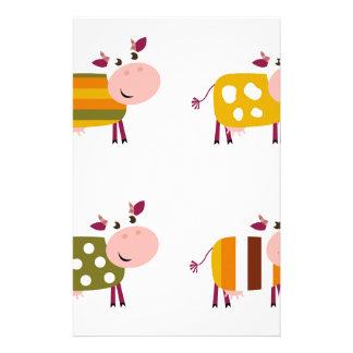 Illustration d'art de vaches à enfants sur le papiers à lettres