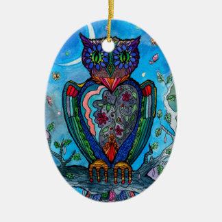 Illustration de cool d'imaginaire de hibou ornement ovale en céramique
