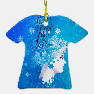 Illustration de fille d'hiver ornement t-shirt en céramique