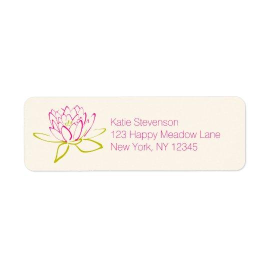 Illustration de fleur/nénuphar de Lotus Étiquettes D'adresse Retour