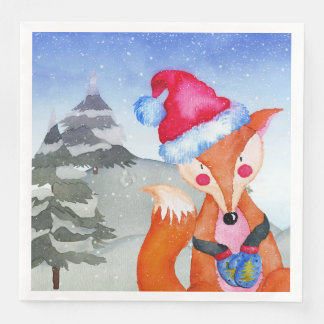 Illustration de Fox d'amis de région boisée de Serviette Jetable