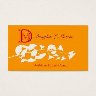 Illustration de Ginkgo avec   le monogramme Cartes De Visite