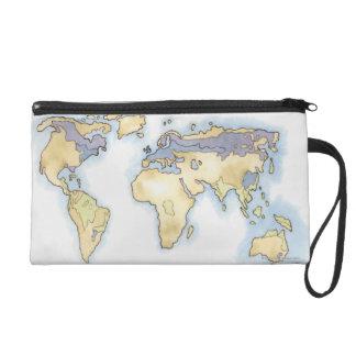 Illustration de la carte du monde montrant des sec sacs à main avec dragonne