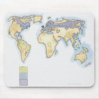 Illustration de la carte du monde montrant des sec tapis de souris