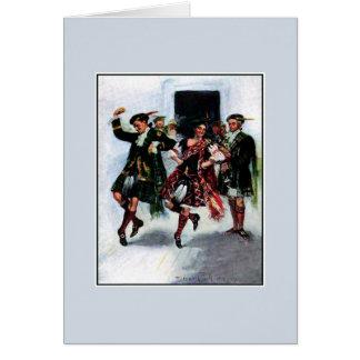 Illustration de livre écossaise de danse de kilt carte de vœux