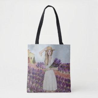 Illustration de mode d'aquarelle de gisement de tote bag